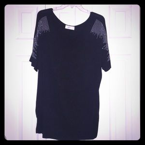Impressions Black Studded Woman's Size 3X Tunic